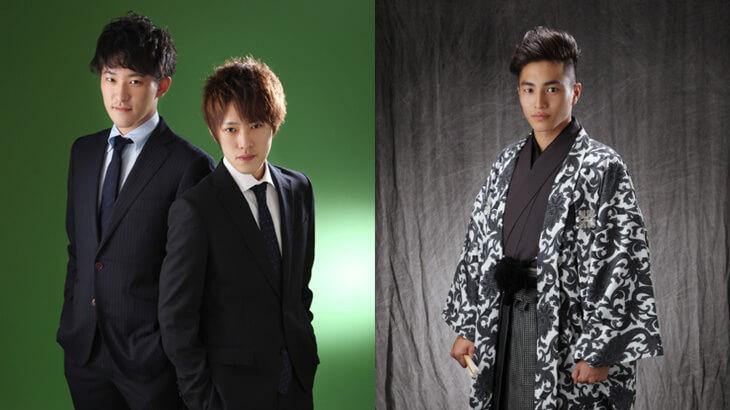 成人式男性用スーツと袴写真