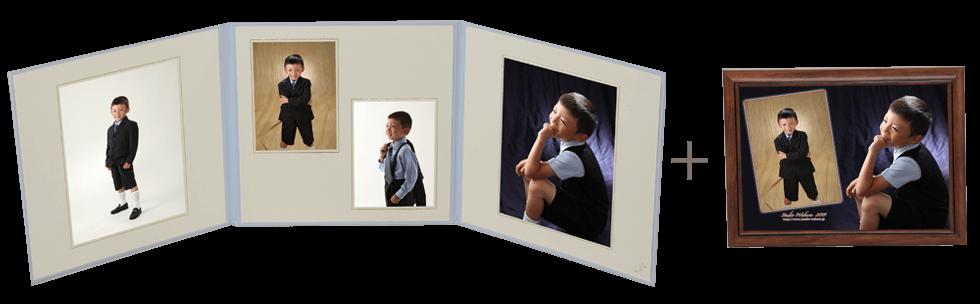 誕生日写真の三面台紙+デザインプリントセット