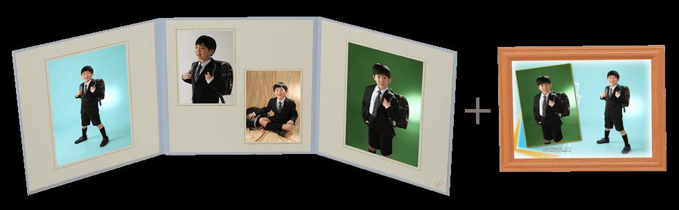 入学式写真撮影 男の子3面台紙+デザインプリント